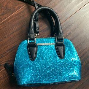 Steve Madden blue glitter cross body purse